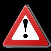 Ein rotes Warndreieck mit Ausrufezeichen in der Mitte.