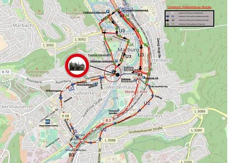 Weidenhäuser Brücke - Umleitungen für den motorisierten Verkehr©Universitätsstadt Marburg