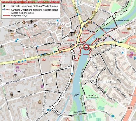 Weidenhäuser Brücke - Umleitungen für Fußgängerinnen und Fußgänger©Universitätsstadt Marburg