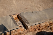 Der Sandstein der Weidenhäuser Brücke ist mit einer Schicht Estrich abgedeckt.