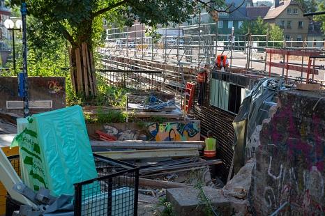 Das Kammerbauwerk der Weidenhäuser Brücke wird betoniert©Stadt Marburg, Patricia Grähling