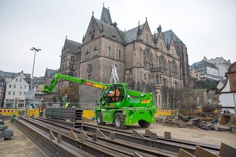 Gerüstbauarbeiten an der Weidenhäuser Brücke©Stadt Marburg, Patricia Grähling