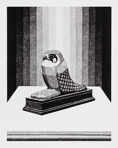 """Abbildung des Werkes""""Weihe"""", Linolschnitt des Künstlers Philipp Hennevogl aus dem Jahr 2018, schwarz-weiß, Vogelstatue auf weißem Untergrund vor grau gestreiftem Hintergund (von der Mitte ausghend weiß, dann dunkler werdende Streifen)©Philipp Hennevogl"""