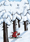 Der kleine Weihnachtsmann mit rotem Gewand fährt auf Skiern durch den schneebedeckten Wald.