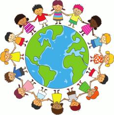 Das Logo zeigt die Erdkugel, die von Kindern verschiedener Herkunft umkreist wird. Die Kinder halten sich an den Händen.©Universitätsstadt Marburg