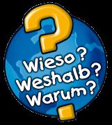 """Eine blaue Weltkugel mit gelben Fragezeichen und den Wörtern """"Wieso"""", """"Weshalb"""" und """"Warum""""."""
