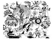 """Handgezeichnetes Wimmelbild mit vielen Aspekten zum Thema """"Biodiversität"""""""