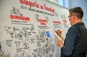 """Der Diplom-Designer Christoph Illigens fertigte während des Workshops eine Zeichnung (""""Graphic Recording"""") an, auf der die Ideen aus den Arbeitsgruppen festgehalten wurden."""